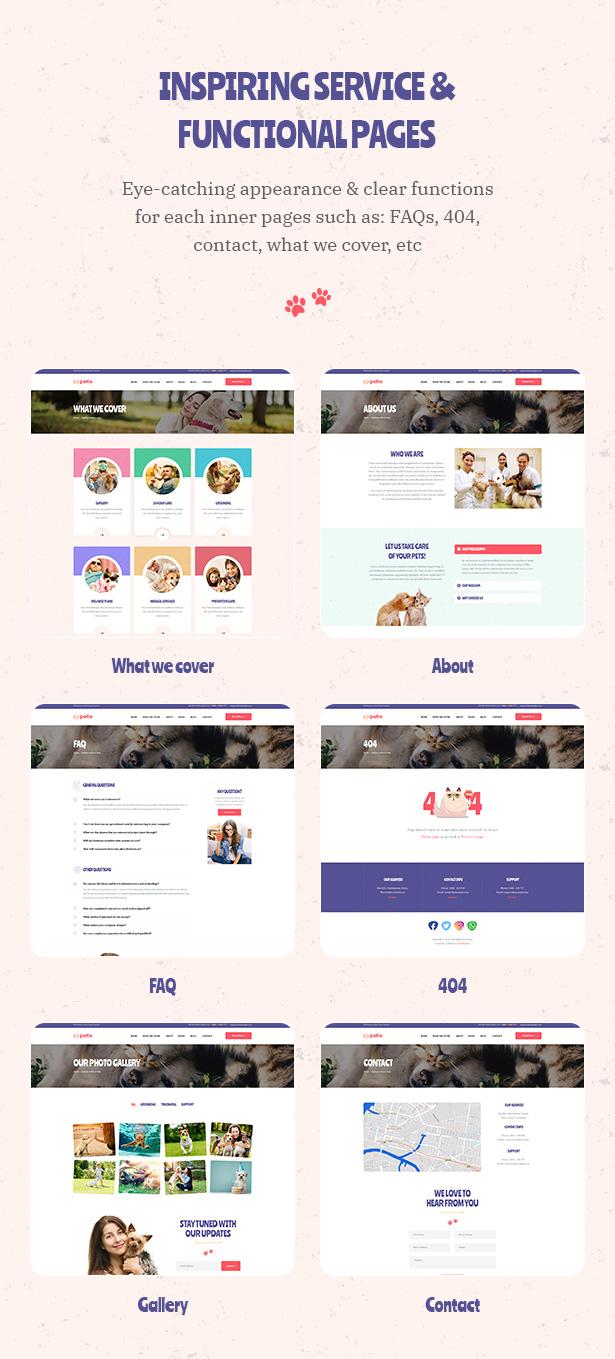 Petie - Centre de soins vétérinaires et thème vétérinaire WordPress Inspiring Service et Page fonctionnelle