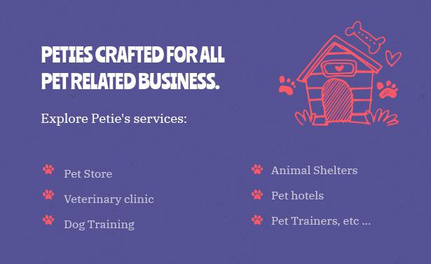 Petie - Centre de soins pour animaux et thème vétérinaire WordPress conçu pour tous les animaux domestiques