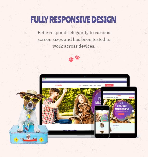 Petie - Centre de soins pour animaux de compagnie et vétérinaire WordPress thème Responsive Design