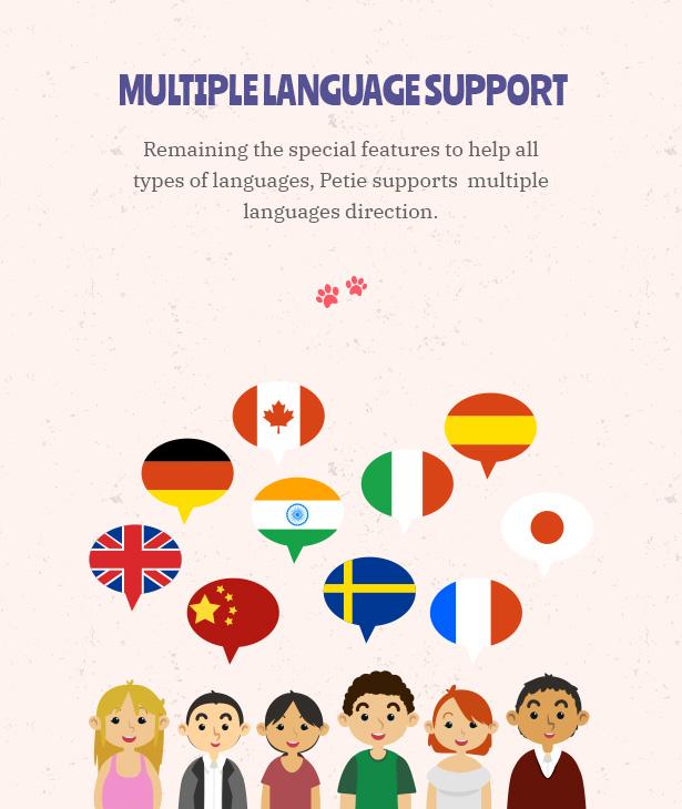 Petie - Centre d'assistance vétérinaire et vétérinaire WordPress Thème Prise en charge de plusieurs langues