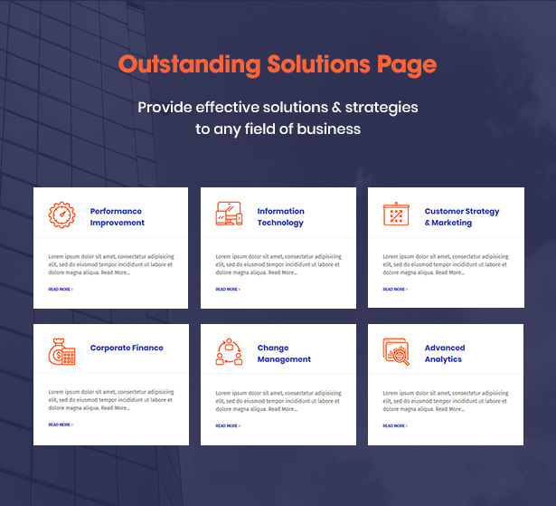 Pages de solutions de Consultek - Business WordPress Theme Consultancy