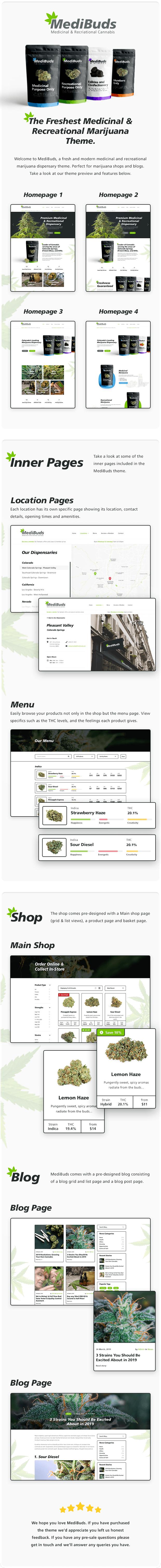 Medibuds - Thème WordPress pour dispensaire de marijuana à des fins médicales - 1
