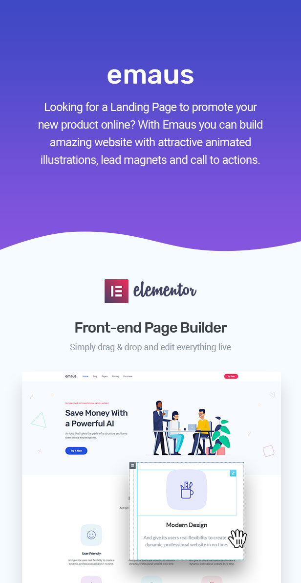 Emaus   SaaS App e Startup Thème WordPress Elementor - 1