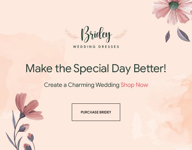 Bridey - Thème WordPress WooCommerce pour boutique de mariage