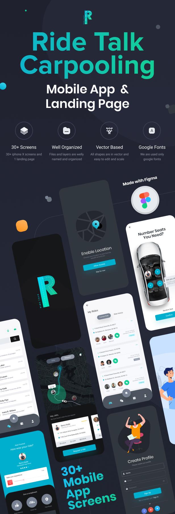 RideTalk | Une application mobile de covoiturage et une page de destination Modèle Figma - 1