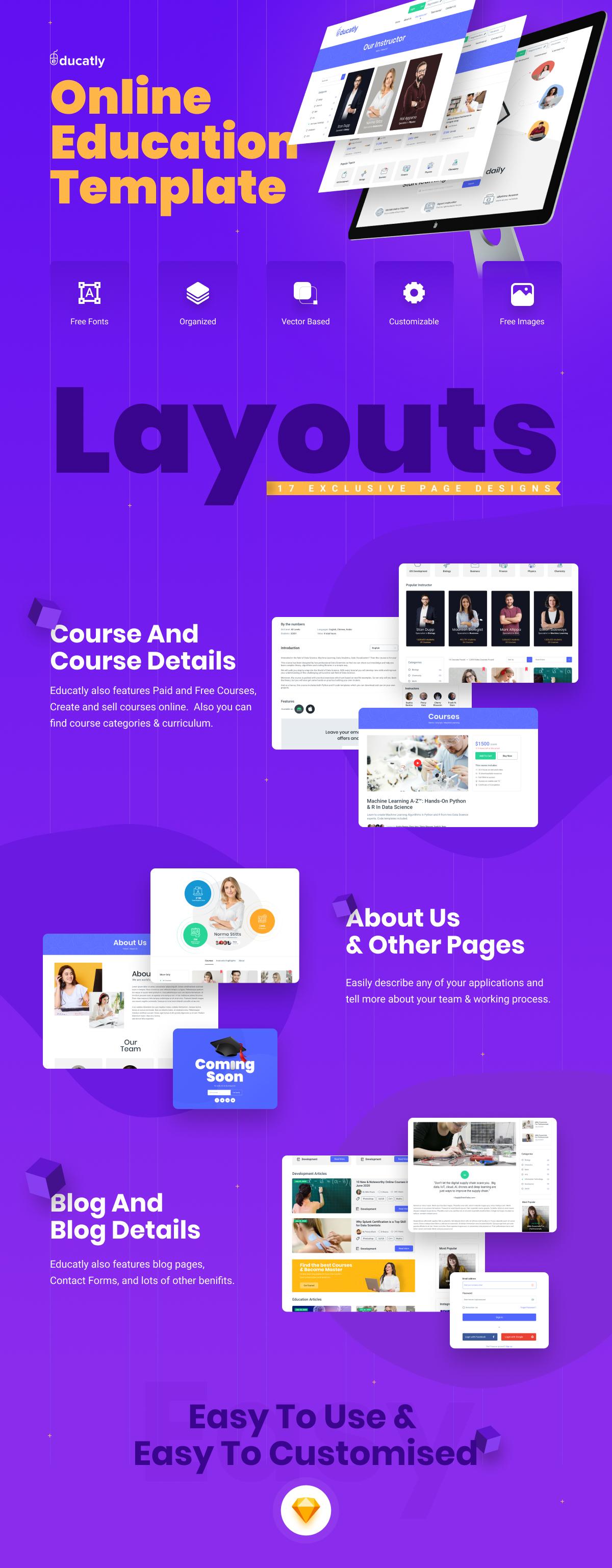 Educatly | Modèle de croquis de site Web d'apprentissage en ligne - 1