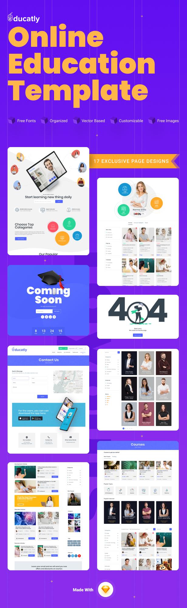 Educatly | Modèle de croquis de site Web d'apprentissage en ligne - 2