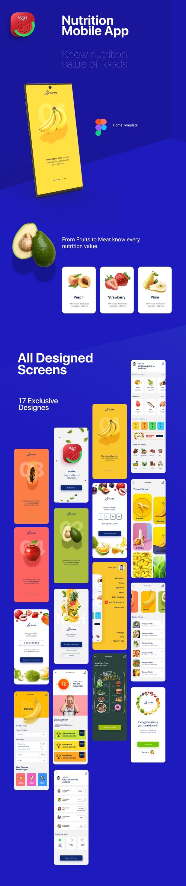 NutriMe | Application mobile et page de destination d'Informations nutritionnelles en ligne Figma - 1