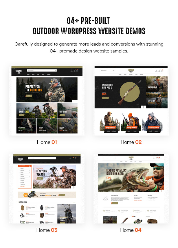 Huntor Hunting Outdoor Shop Thème WooCommerce 04+ démos