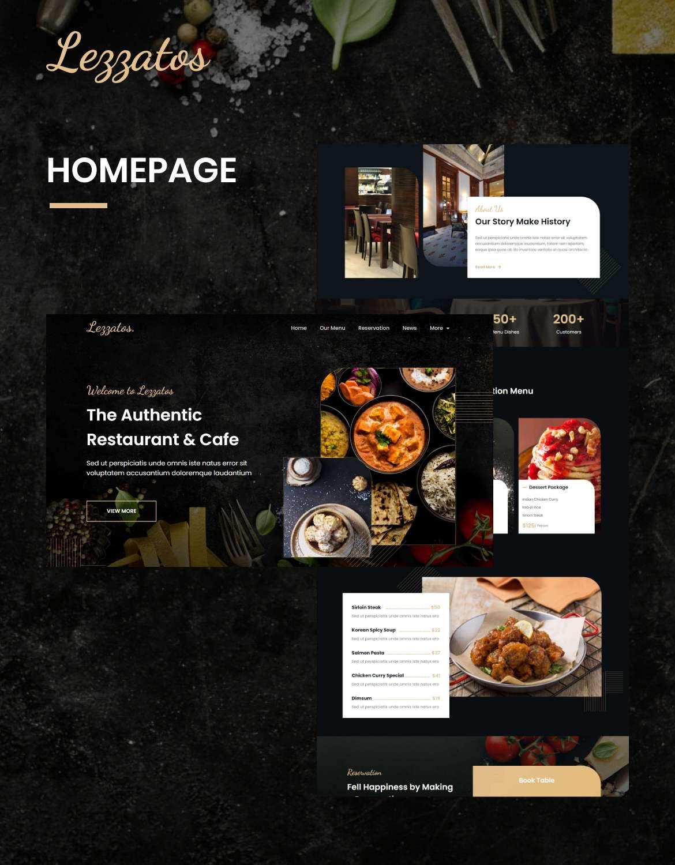 Lezzatos | Kit de gabarit pour restaurant et café Elementor - 1