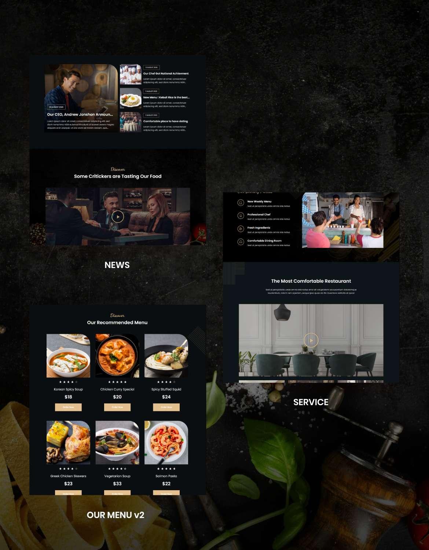Lezzatos | Kit de gabarits pour restaurant et café Elementor - 4