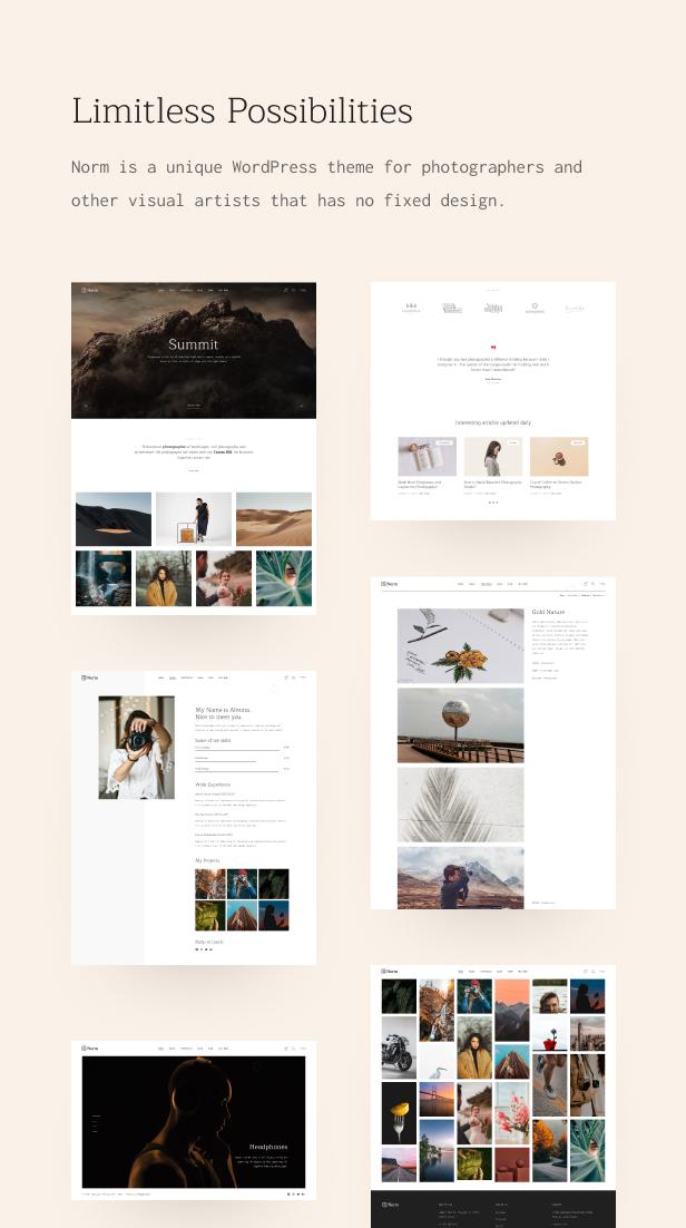 Norm - Thème WordPress Photography Elementor - 2