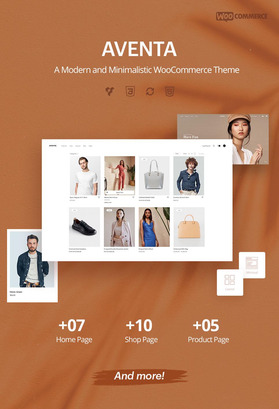 Aventa - Thème woocommerce minimal et moderne