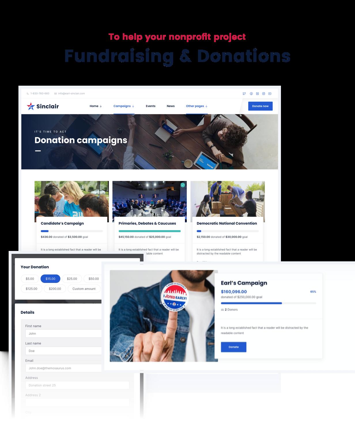 Sinclair - Thème WordPress pour la collecte de fonds et les dons politiques - 4