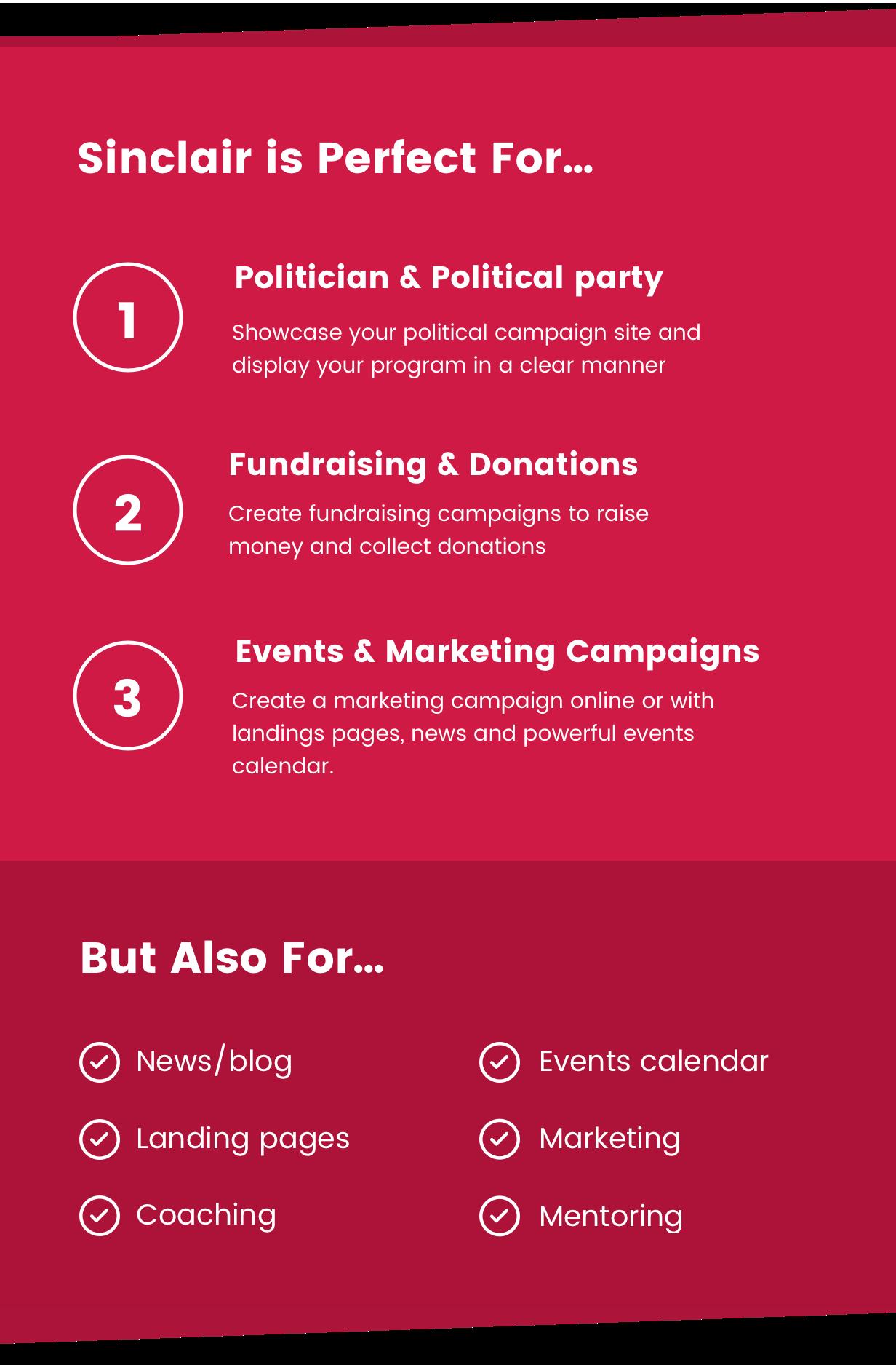 Sinclair - Thème WordPress pour la collecte de fonds et les dons politiques - 5
