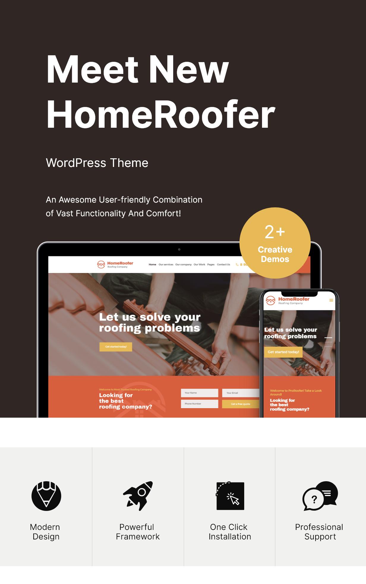 HomeRoofer | Thèmes WordPress Thème Services pour bâtiments et toitures - 1