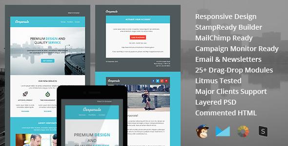 Corp - Modèle de courrier électronique réactif polyvalent avec StampSteady Builder et Mailchimp Editor en ligne - 4