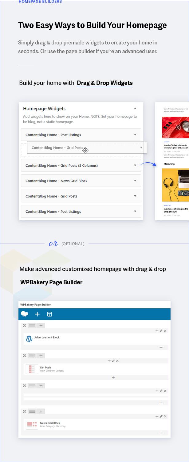 Constructeurs de la page d'accueil