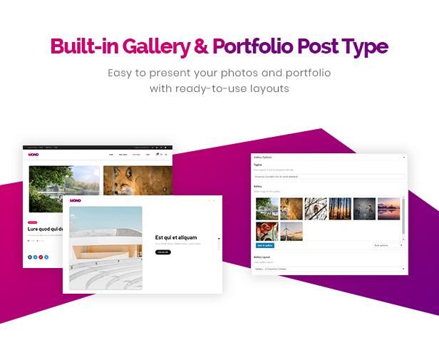 Type de station de galerie et portfolio intégré