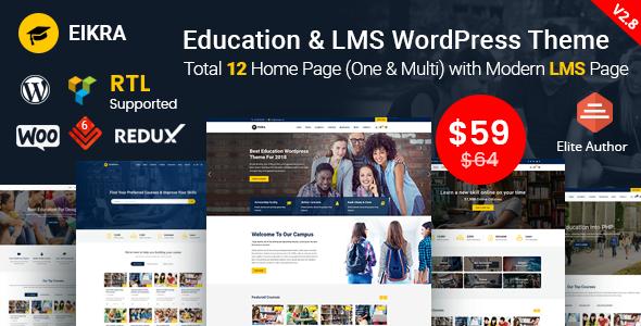 Eikra - Thème WordPress pour l'éducation avec Learning Management System (LMS)