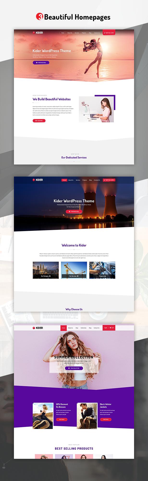 Présentation de la page d'accueil du modèle Kider PSD Screenshots