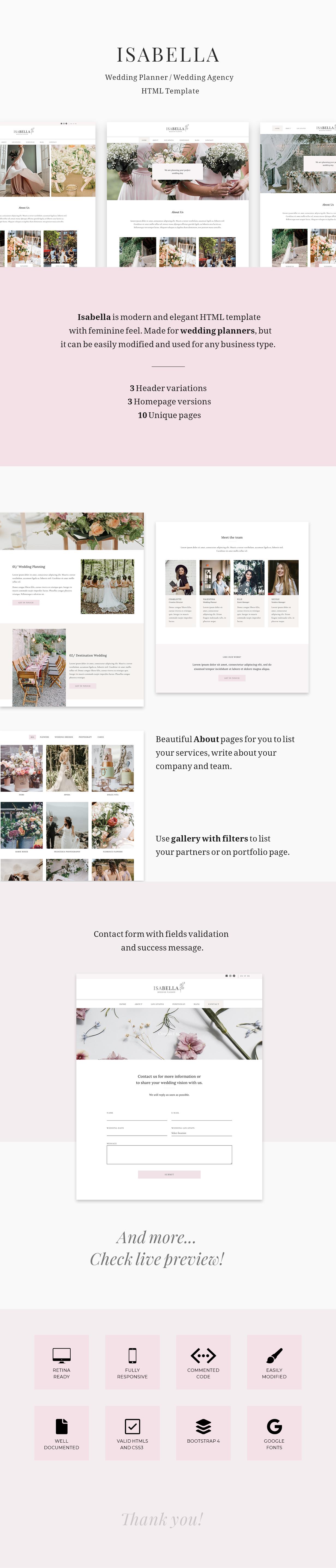 Isabella - Modèle HTML de Wedding Planner - 1